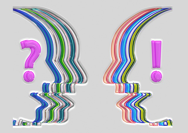 two heads facing each other one with a question mark and the one on the right with an exclamation point